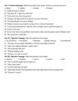 Hamlet Final Test 100 Questions and KEY