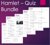 Hamlet Five Quiz Assessment Bundle for Act 1, 2, 3, 4 & 5
