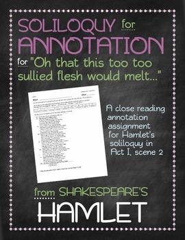 Hamlet: Hamlet's Act I, Scene 2 soliloquy annotation
