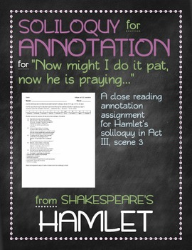 Hamlet: Hamlet's Act III, Scene 3 soliloquy annotation