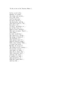 Hamlet-- Memorize