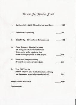 Hamlet or LeMort D' Arthur Authentic Assessment