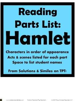 Hamlet Parts List:  Assign and Track Student Reading