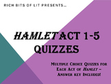 Hamlet Reading Quizzes for Acts 1-5
