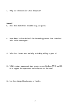 Hamlet, Scene by Scene Study Guide (30 pages)