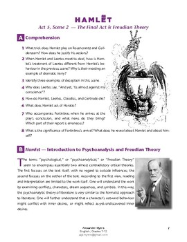 Hamlet (IB Shakespeare) - Act 5 - Psychoanalysis (Freudian Theory) + ANSWERS