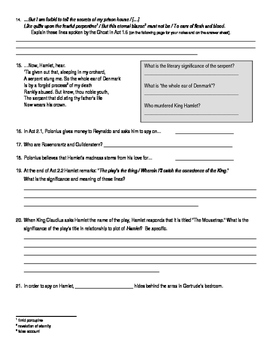 Hamlet (Shakespeare) Quiz / Worksheets Acts 1-4