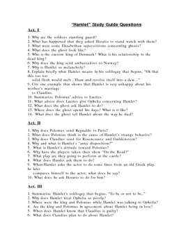 Hamlet Study Guide Questions (Shakespeare)