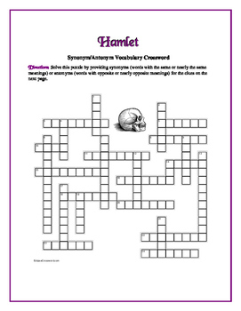 Hamlet: 25 Words to Know Crossword—Companion Product to Bookmarks Plus!