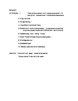 Hamlet: Teacher notes as Act 3 is begun