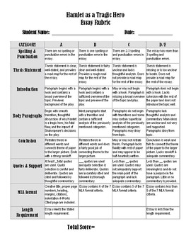 Hamlet Tragic Hero Essay Prompt  Rubric By A Novel Way  Tpt Hamlet Tragic Hero Essay Prompt  Rubric Proposal Essay Topics List also Ib Writing Service  Library Essay In English