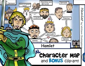 Hamlet Visual Character Map (Includes Laertes Clip-Art)