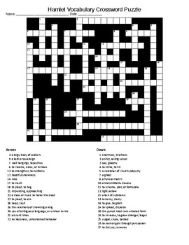 Hamlet Vocabulary Crossword Puzzle and KEY