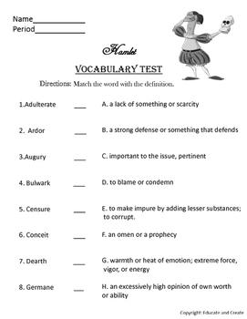 Hamlet Vocabulary list and quiz