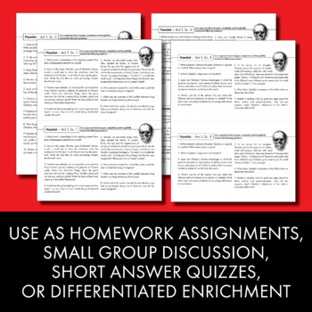 Hamlet, Worksheets Quizzes Discussion & HW for William Shakespeare's Play
