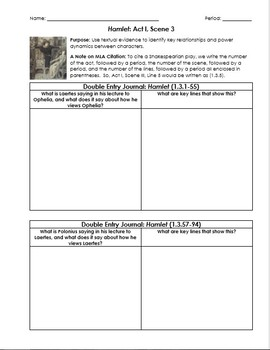 Hamlet Worksheets with Double-Entry Journals & Guiding Questions