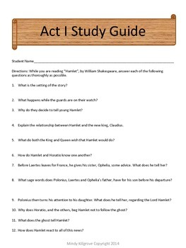 Hamlet by William Shakespeare- Study Guides Only