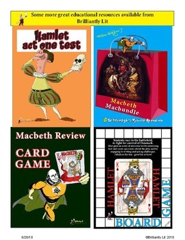 Hamlet fun review card game activity: quotes, facts and dares!
