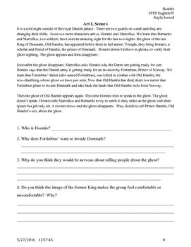 Hamlet summaries and questions