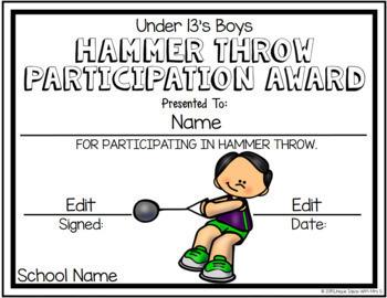 Hammer Throw Field Awards Athletics Editable