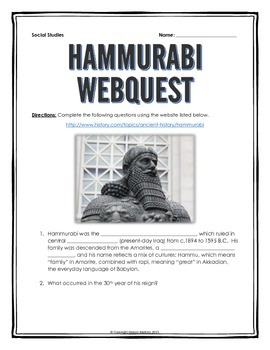 Hammurabi and Hammurabi's Code - Webquest with Key