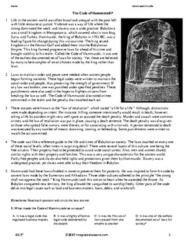 Hammurabi's Code - Grade 8