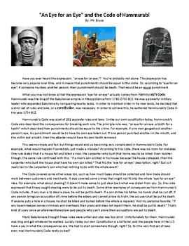 Hammurabi's Code Reading Comprehension