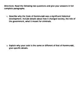 Hammurabi's Code Activity