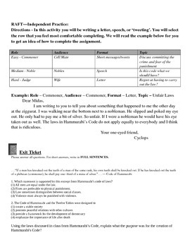 Hammurabi's Code Notes, Guided Practice, RAFT , and Exit Ticket