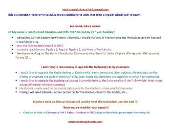 Hammy's Honors PreCalculus Curriculum Navigation