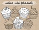 Han Drawn Cupcake Clipart. Black and White Cupcake Coloring Pages - 30 PNGs.