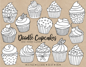 Han Drawn Cupcake Clipart. Black and White Cupcake Coloring Pages ...