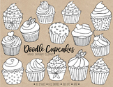 Han Drawn Cupcake Clipart. Black and White Cupcake Colorin