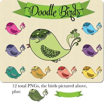 SALE- Hand Doodled Bird Clip art