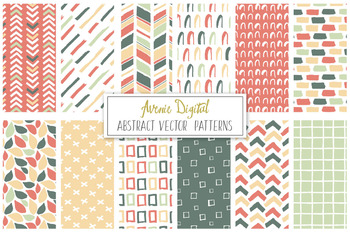 Hand Drawn Abstract Patterns Digital Paper - Vectors