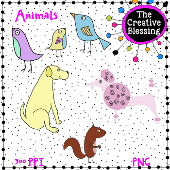 Hand Drawn Birds, Dogs and Squirrel Clip Art Doodles