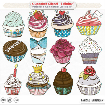 Happy Birthday Clip Art, Cupcakes, Cake, Birthday Party ClipArt