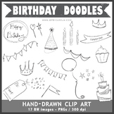 Hand Drawn Birthday Doodles Clip Art
