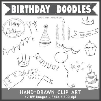 Hand Drawn Birthday Doodles Clip Art
