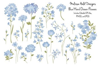 Blue Hand Drawn Flowers Clipart