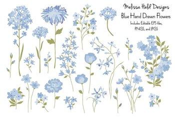 Clipart: Hand Drawn Blue Flowers Clip Art