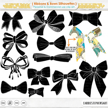 Hand Drawn Bows and Ribbons Line Art Illustrations, Art Outlines