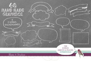 Hand Drawn Bubbles, Ribbons & Frames Clip Art Super Bundle