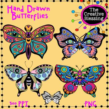 Hand Drawn Butterfly Clip Art