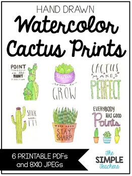 Hand Drawn Cactus Watercolor Prints with Cactus Sayings