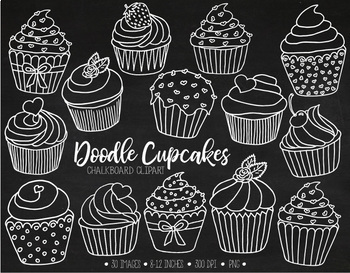 Hand Drawn Chalkboard Cupcake Clipart. White Chalk Cupcake Outlines - 30 PNGs