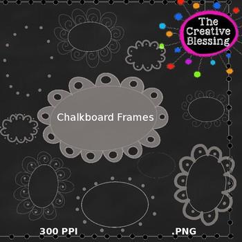 Hand Drawn Chalkboard Oval Frames