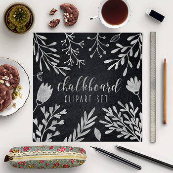 Hand Drawn Chalkboard Plants, Leaves And Flowers