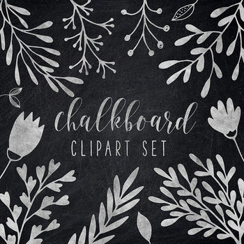 Hand Drawn Chalkboard Plants, Leaves And Flowers, Chalkboard Clipart