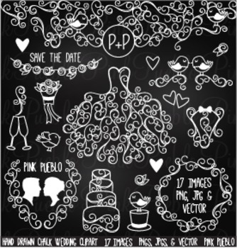 Hand Drawn Chalkboard Wedding Clipart Clip Art - Commercial and Personal Use